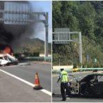 Va chạm sau nổ lốp, xe ô tô bốc cháy ngùn ngụt giữa đường